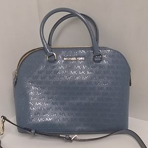 Michael kors denim large satchel handbag